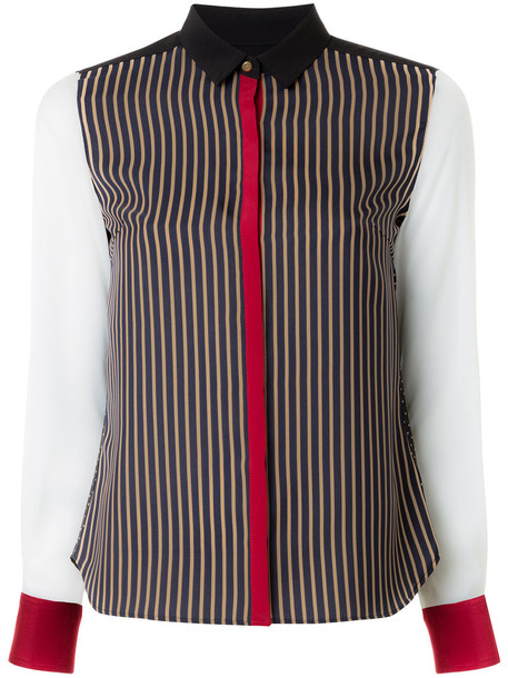 Guild Prime - contrast striped blouse - women - Polyester - 38, Black, Polyester