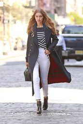 pants,coat,boots,fall outfits,fall colors,fall coat,gigi hadid,model,sweater,stripes,striped sweater,purse,tommy hilfiger,top