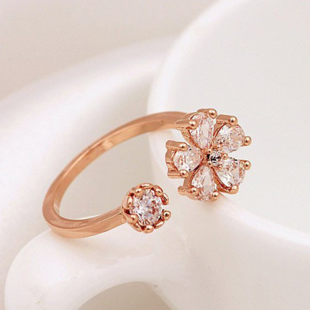 jewels ring accessories daisy opening ring rhinestones gold plated