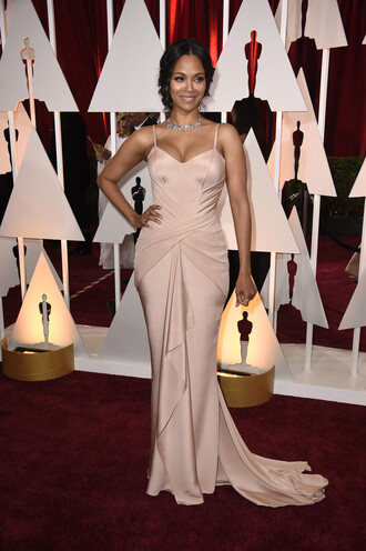 dress oscars 2015 nude zoe saldana gown red carpet dress