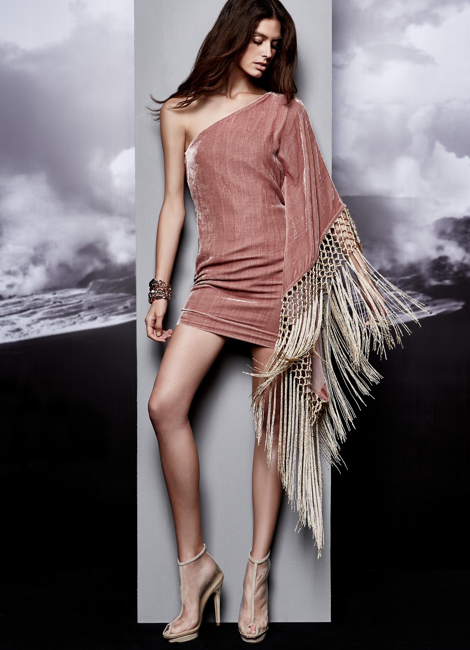 Fringe Dress One Shoulder