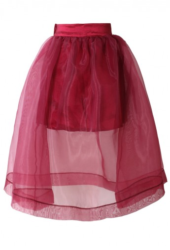 Sheer Red Organza A-Line Midi Skirt - Retro, Indie and Unique Fashion