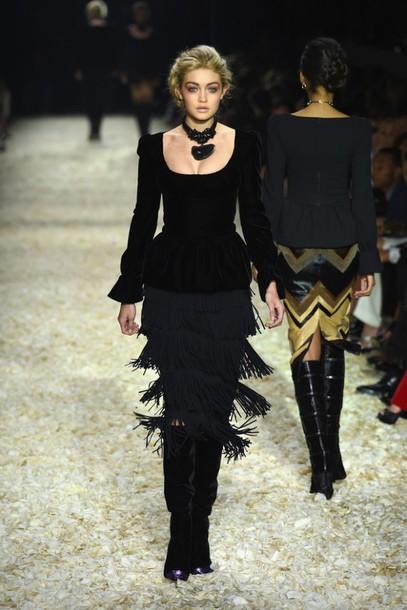 top skirt boots gigi hadid fashion fashion week 2015