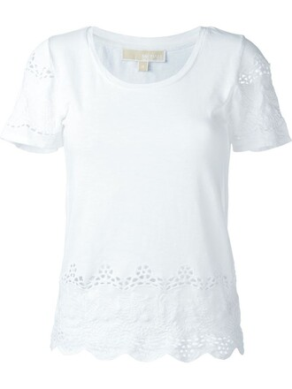 t-shirt shirt embroidered women white cotton top