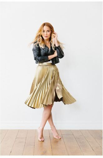 skirt lauren conrad metallic gold pleated skirt sandals jacket blogger spring outfits biker jacket midi skirt shoes sandal heels vue boutique silver