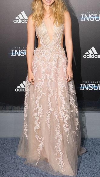 dress prom dress red carpet dress lace dress chiffon dress prom gown outfit cream bustier cutoutsides beautiful