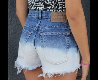 arizona high waisted shorts ombré dip dyed