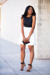 jadore-fashion,blogger,black and white dress,mini dress,clutch,high heel sandals,sandals,classy,classy dress,bow shoes,date outfit