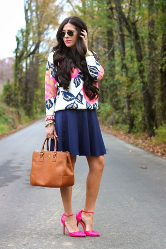 sweater floral pink hot pink skater skirt business casual tote bag cream gold gold jewelry chic