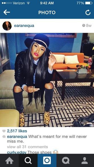 hat black hat leather jacket white and black cheetah print cheetah print shoe