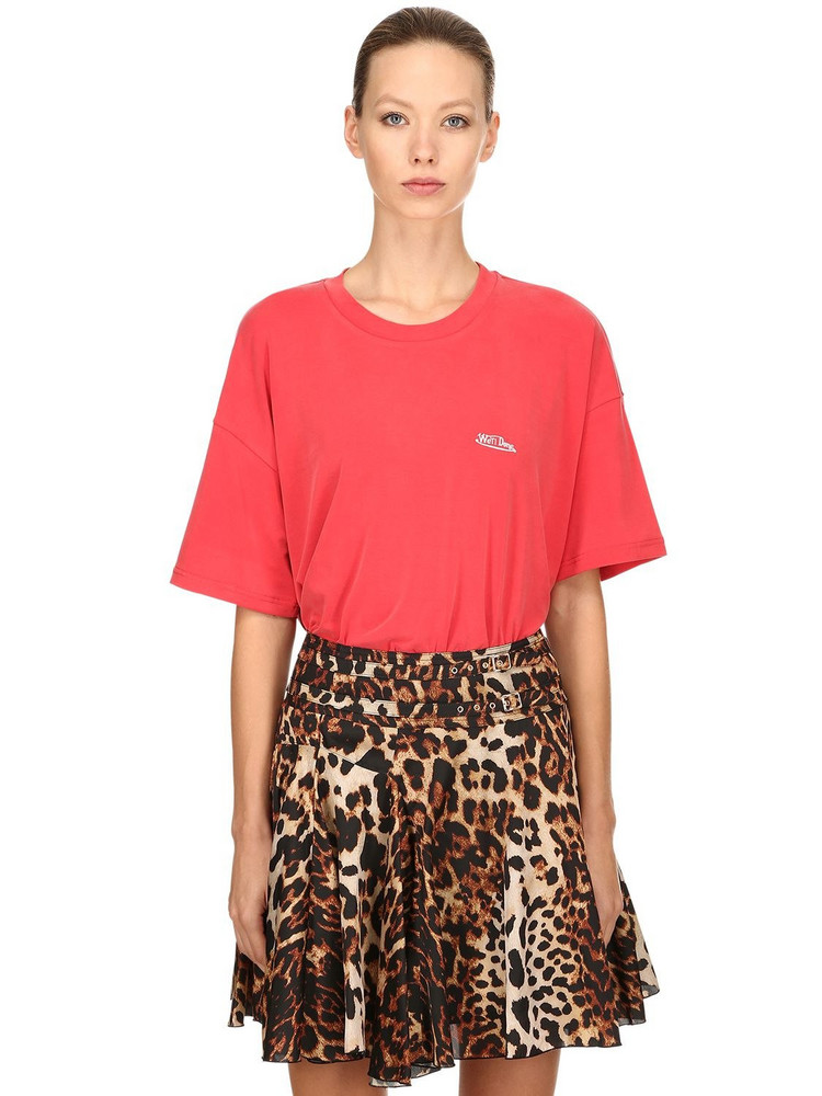 WE11 DONE Oversize Embroidered Modal Blend T-shirt in red