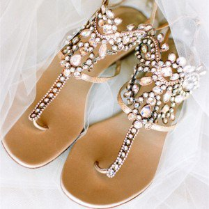 Champagne Flip-Flops Wedding Shoes Flats sandals with Pink Rhinestones