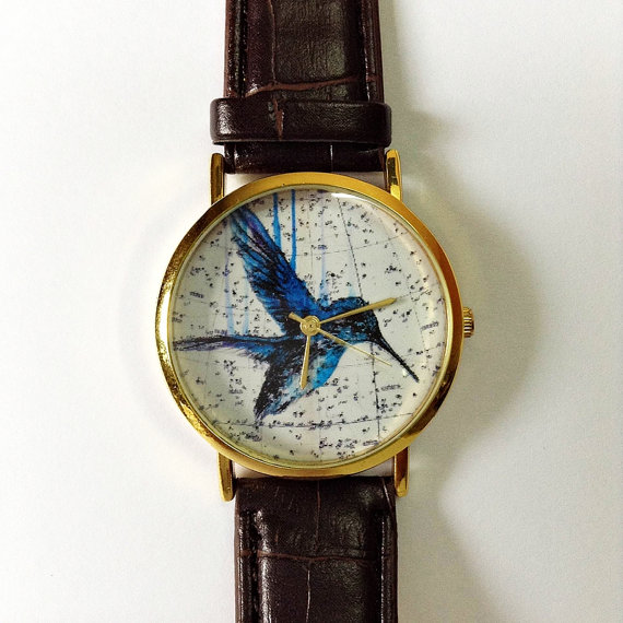 Vintage Hummingbird  Watch  Vintage Style Leather by FreeForme