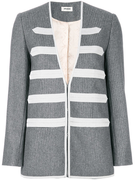 blazer metallic women wool grey jacket