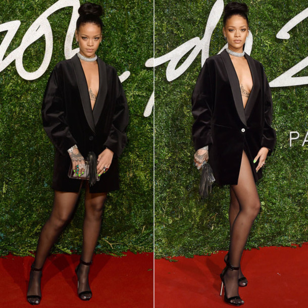 blazer dress sexy celebrity style rihanna dress