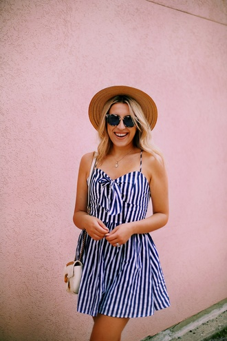 dress hat tumblr mini dress blue dress stripes striped dress sun hat sunglasses vacation outfits
