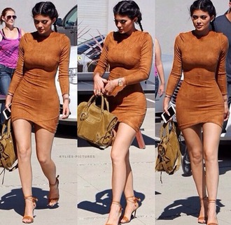 swimwear dress bodycon dress nude dress camel camel dress mini dress kardashians kylie jenner brown suede dress