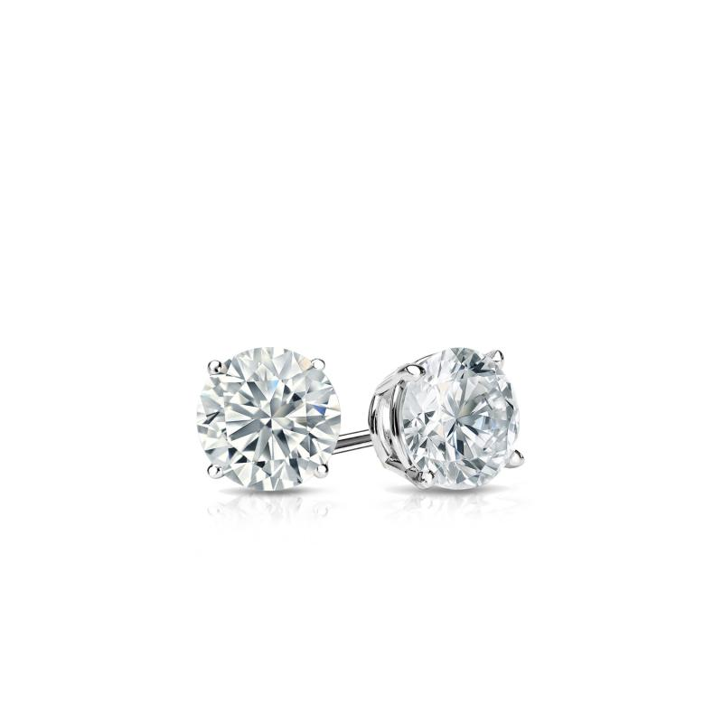 14k White Gold 4-Prong Basket Round Diamond Stud Earrings 0.25 ct. tw. (H-I, I2) - DiamondStuds.com