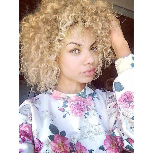 crewneck white fashion flowers floral shirt curly hair pink