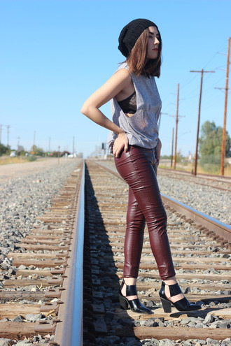 platforms for breakfast blogger jewels beanie bra tank top leather pants cut out ankle boots