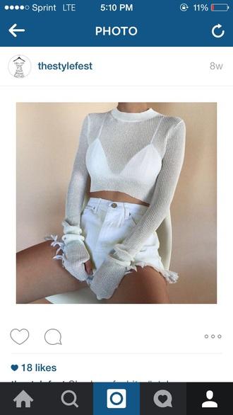 shirt white see through transparent mesh hoodie shirt crop top sweater sheer
