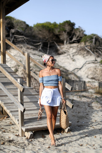 top tumblr blue top vacation outfits crop tops off the shoulder off the shoulder top skirt mini skirt white skirt bag straw bag scarf sunglasses