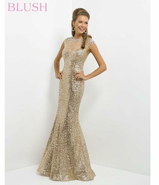 dress, gold sequins, gold, prom dress, ball gown dress, bridal gown ...