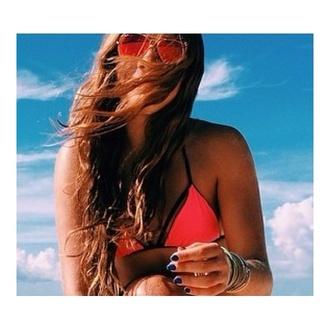 swimwear pink top bathing suit top matte black beach summer outfits instagram fashion bikini swimming cute dress triangle bikini triangl