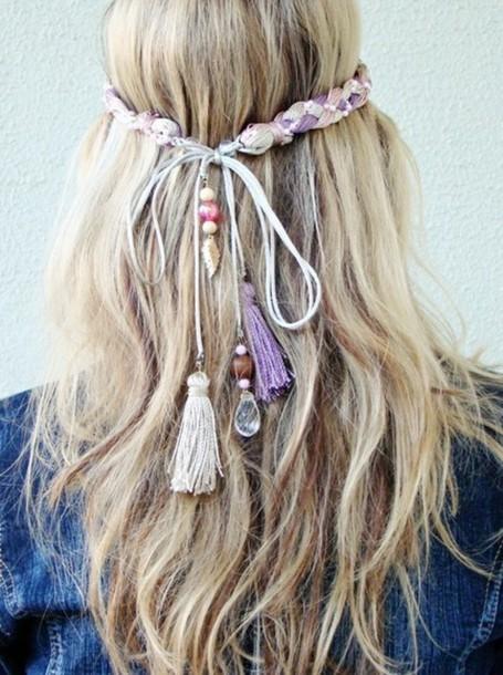 jewels headband hippie tassel tassel hair accessory