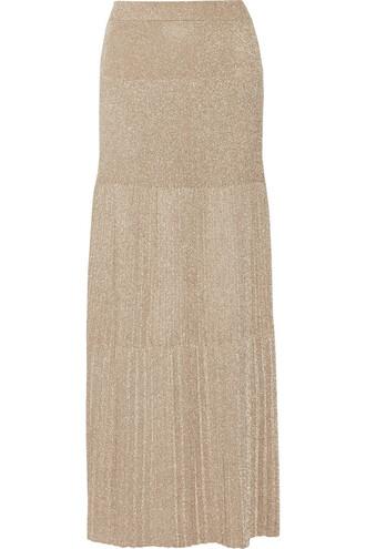skirt maxi skirt maxi pleated knit metallic crochet gold