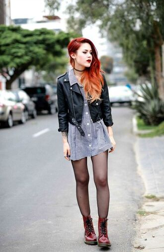 shoes black leather jacket button shirt dress tights burgundy combat boots blogger choker necklace