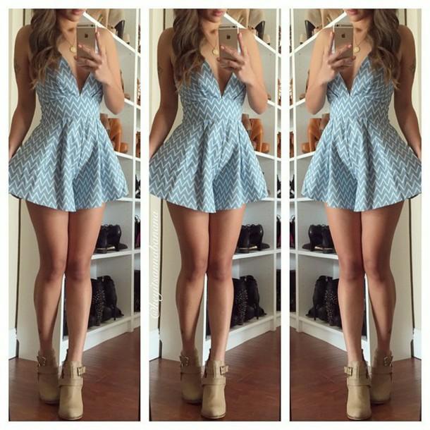 dress v neck v neck dress polka dots dress summer dress blue dress shoes
