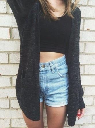 sweater cardigan oversized sweater oversized cardigan black and gray tank top shorts