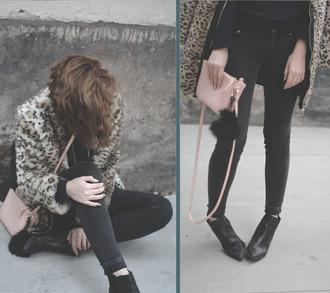 hannah n everchic - blogger coat animal print faux fur coat pink bag