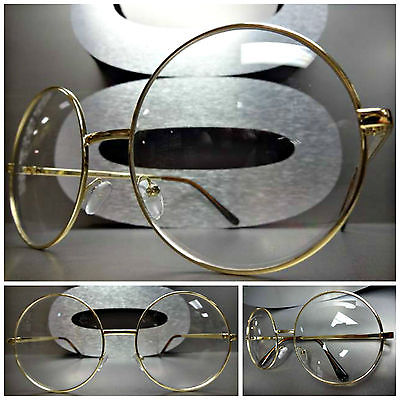 1161c31c6ab6 MEN Women Oversize Vintage Clear Lens EYE Glasses Large Round ...