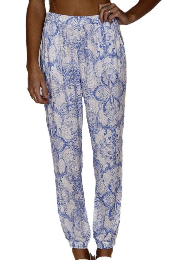 blue and white pants lounge pants print pants elastic waist pants loose leg pants cropped ankles www.ustrendy.com
