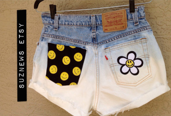 smiley face shorts daisy shorts 90's happy face high waisted short dip dyed festival style high waisted denim shorts