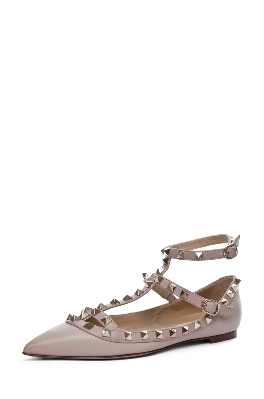 Valentino | Rockstud Leather Ballerina Flats in Powder