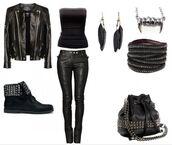 bag,purse,black top,black,clothes,leather jacket,black crop top,hobo bag,pants,shoes,top,jewels