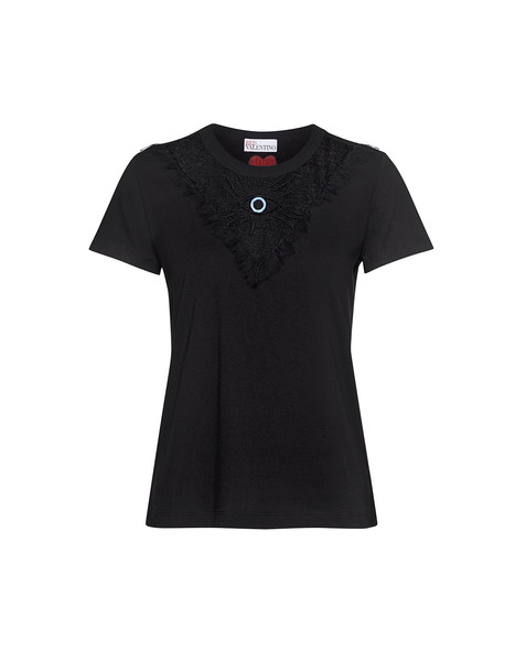 RED VALENTINO embroidered sheer lace black top