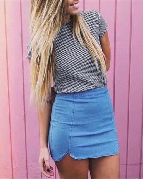 skirt denim high waisted
