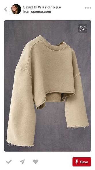top crop tops crop cropped cropped sweater crooped hoodie beige brown nude sweater sweatshirt jumper