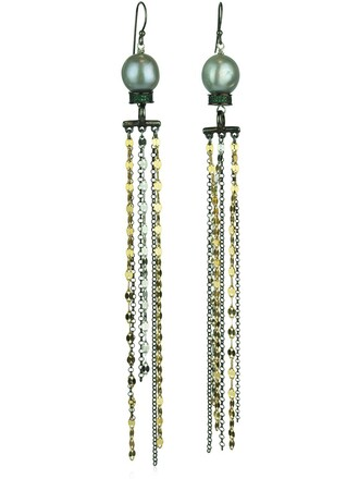 pearl earrings gold black jewels