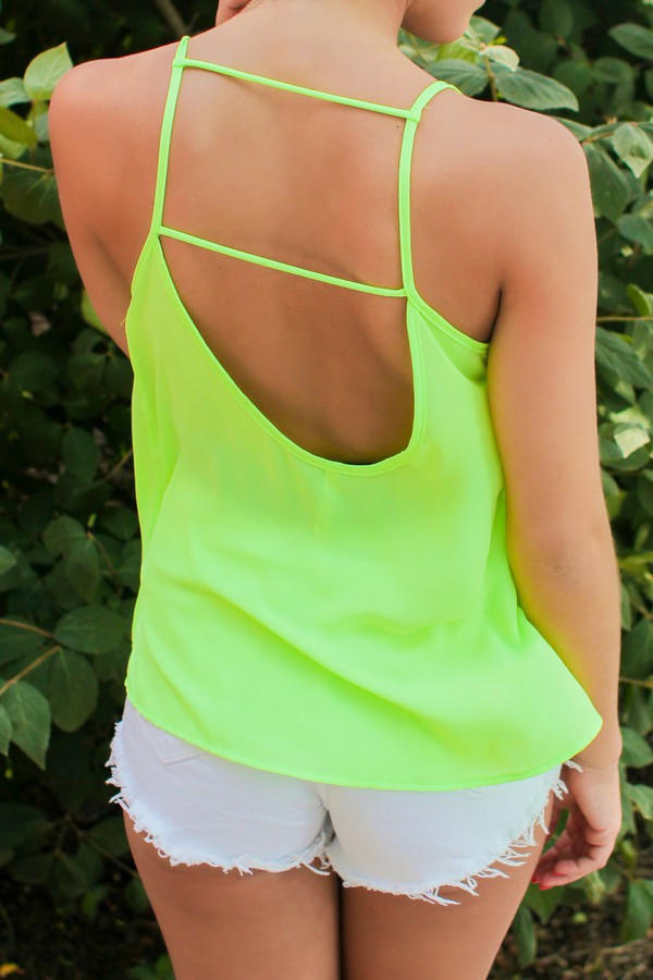 open back neon neon green strappy back airy loose tank top