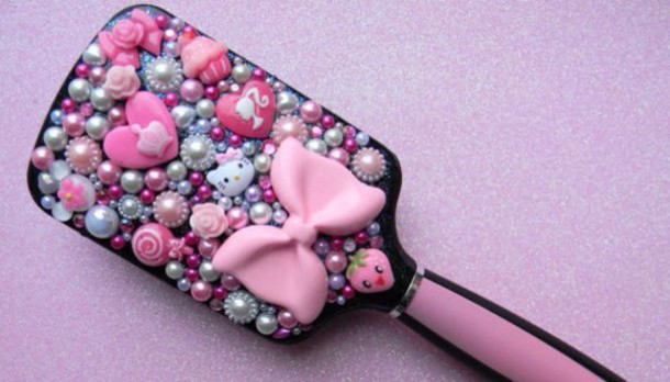 hair accessory handmade rhinestone hair brush
