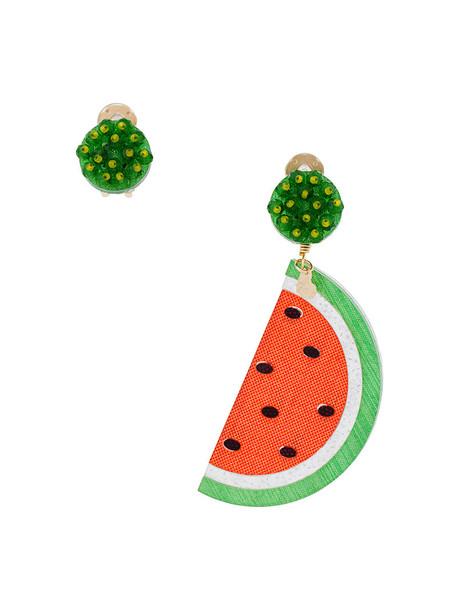 women earrings bronze red jewels