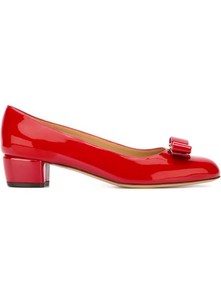 bow women pumps leather red shoes