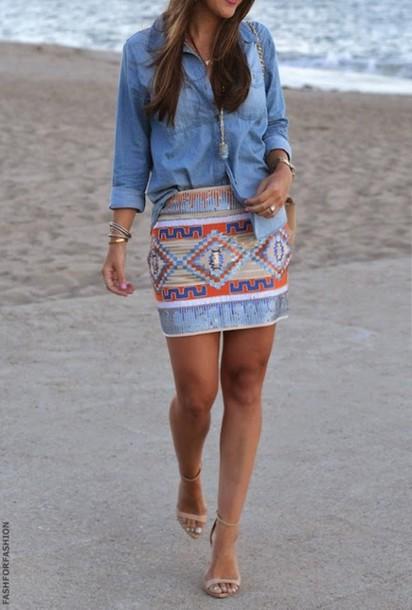 skirt blue pink
