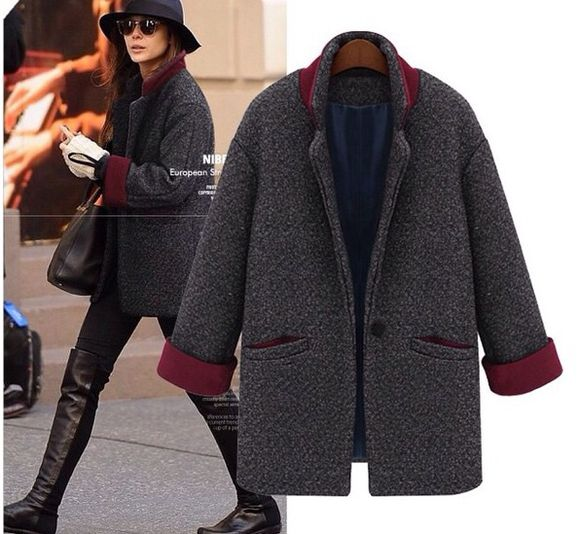 coat grey coat boyfriend coat sleeves charcoal