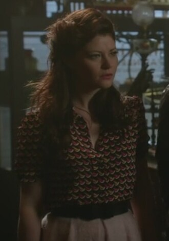 blouse printed belle skirt silk crepe once upon a time show emilie de ravin jacquard pink